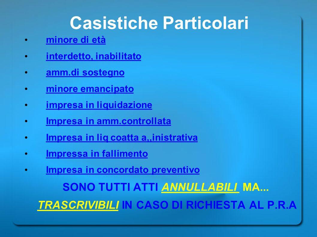 Casistiche Particolari