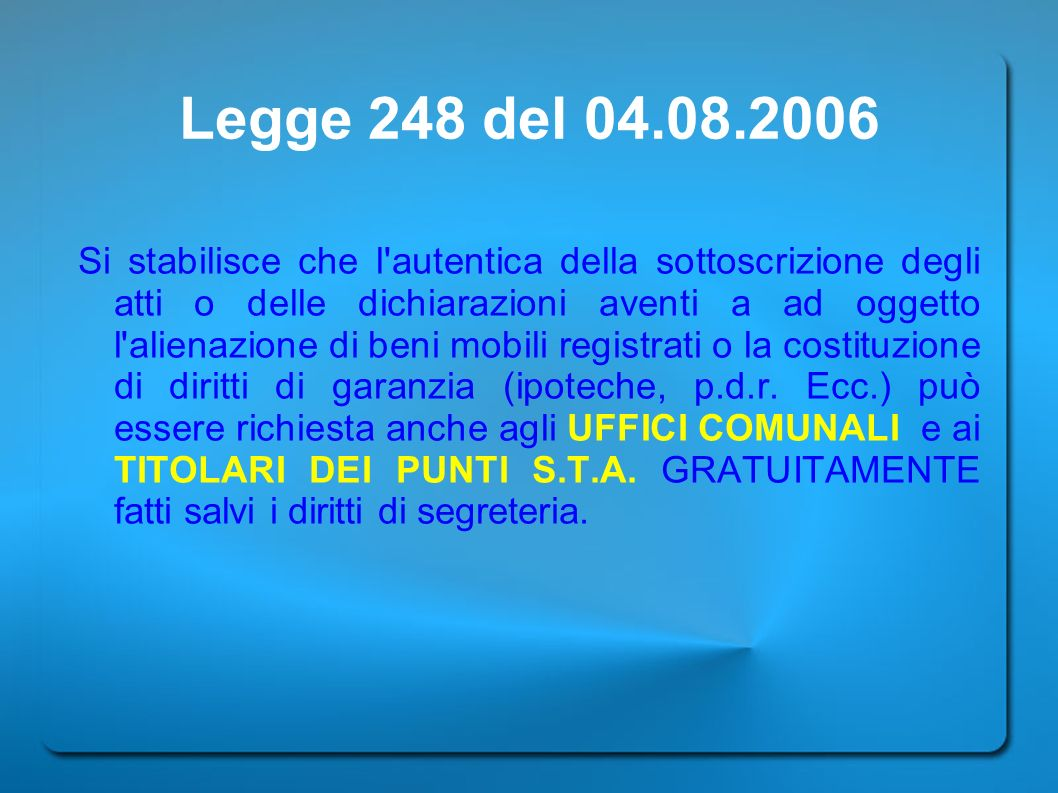 Legge 248 del 04.08.2006