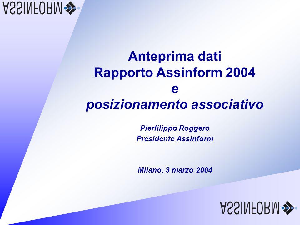 Anteprima dati Rapporto Assinform 2004 e posizionamento associativo