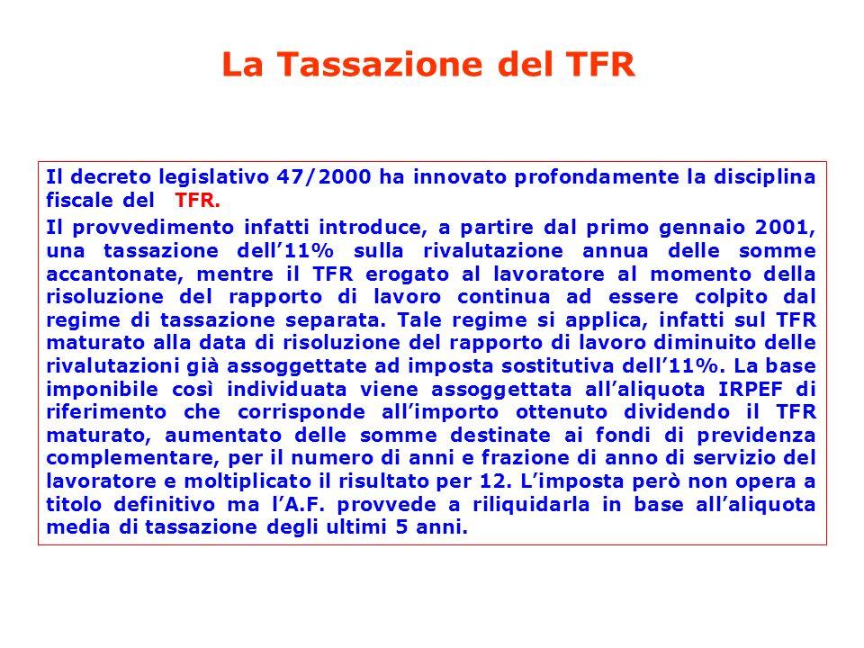 La Tassazione del TFR Il decreto legislativo 47/2000 ha innovato profondamente la disciplina fiscale del TFR.