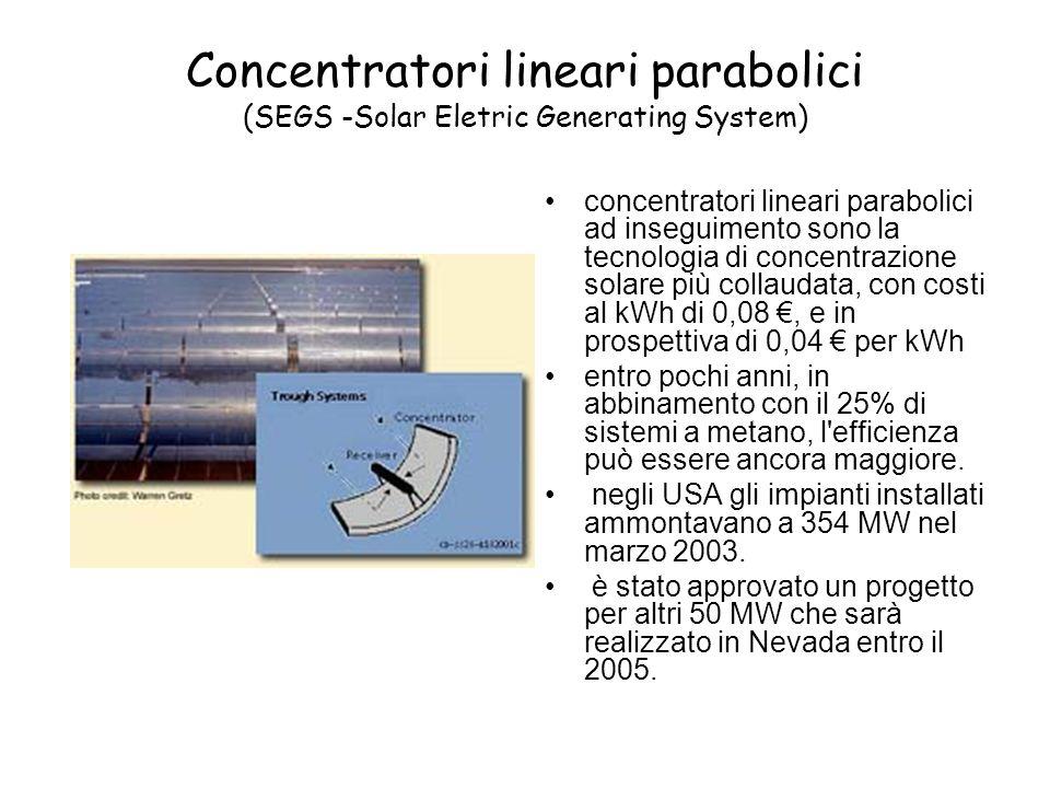 Concentratori lineari parabolici (SEGS -Solar Eletric Generating System)