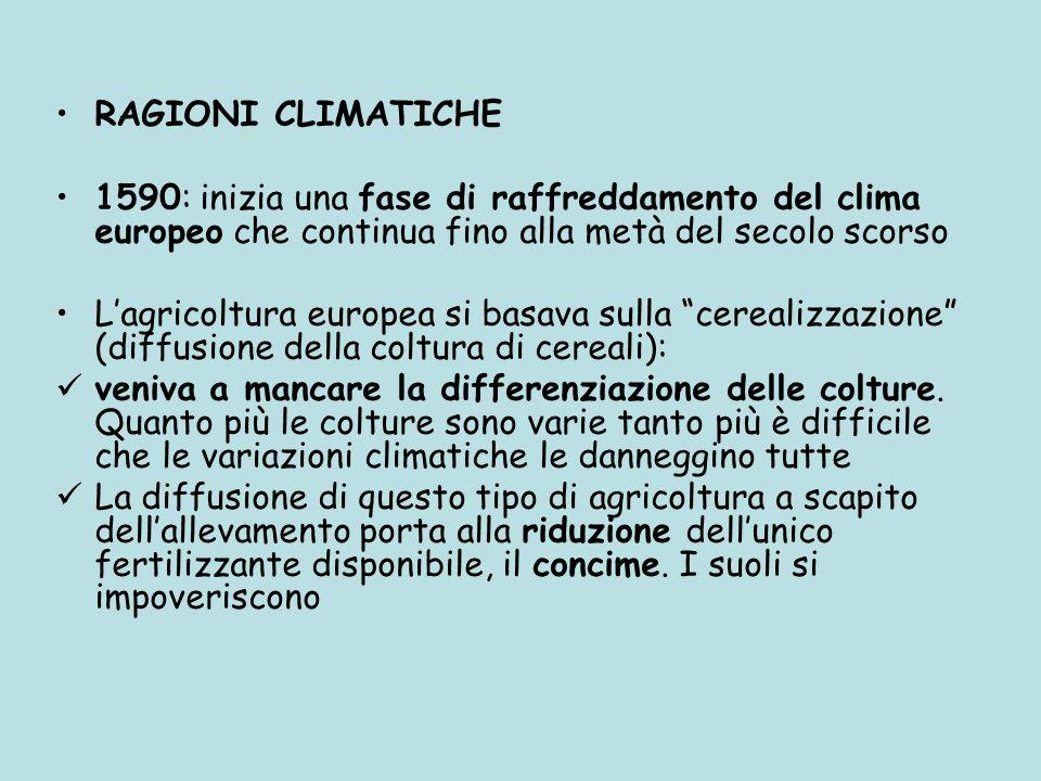 RAGIONI CLIMATICHE1590: inizia una fase di raffreddamento del clima europeo che continua fino alla metà del secolo scorso.
