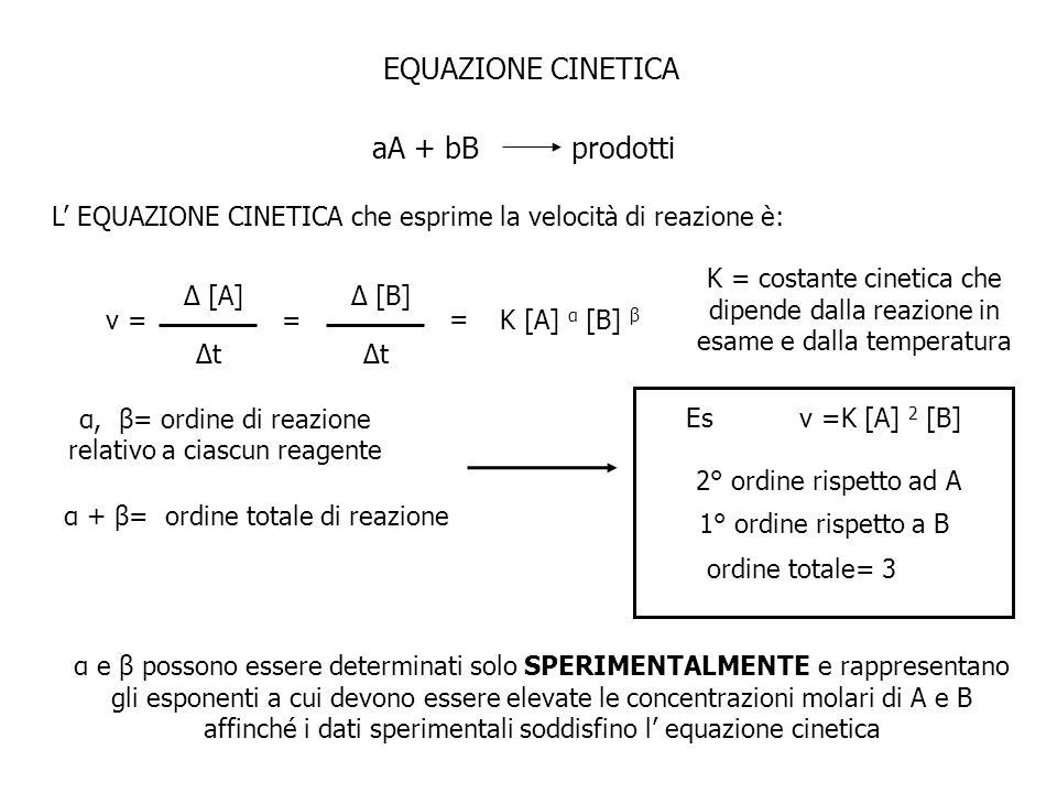 EQUAZIONE CINETICA aA + bB prodotti