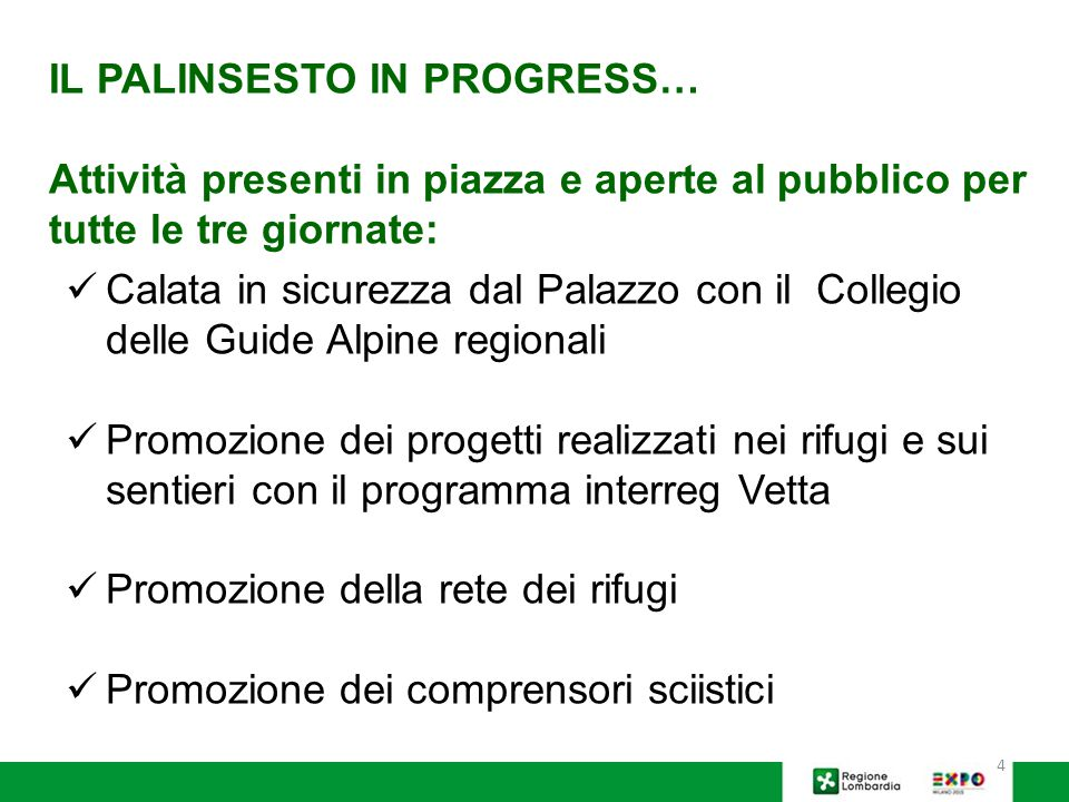 IL PALINSESTO IN PROGRESS…