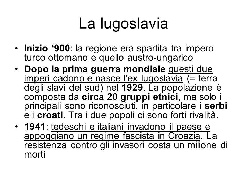 La Iugoslavia Inizio '900: la regione era spartita tra impero turco ottomano e quello austro-ungarico.