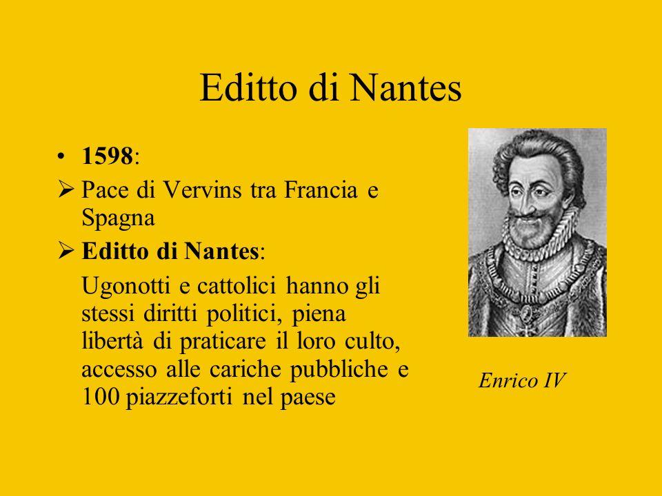 Editto di Nantes 1598: Pace di Vervins tra Francia e Spagna