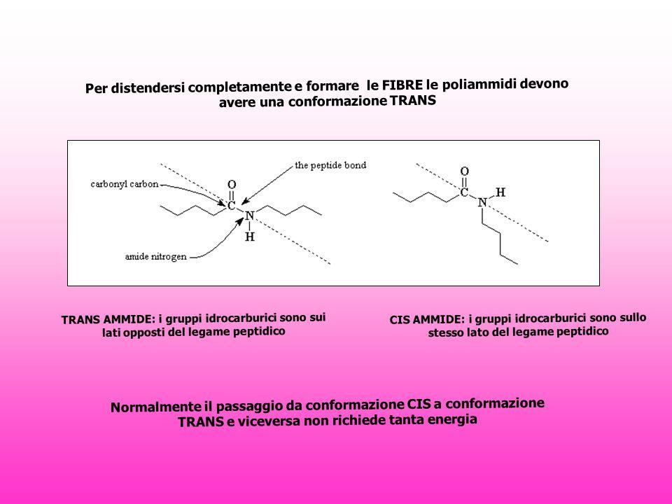 Per distendersi completamente e formare le FIBRE le poliammidi devono avere una conformazione TRANS