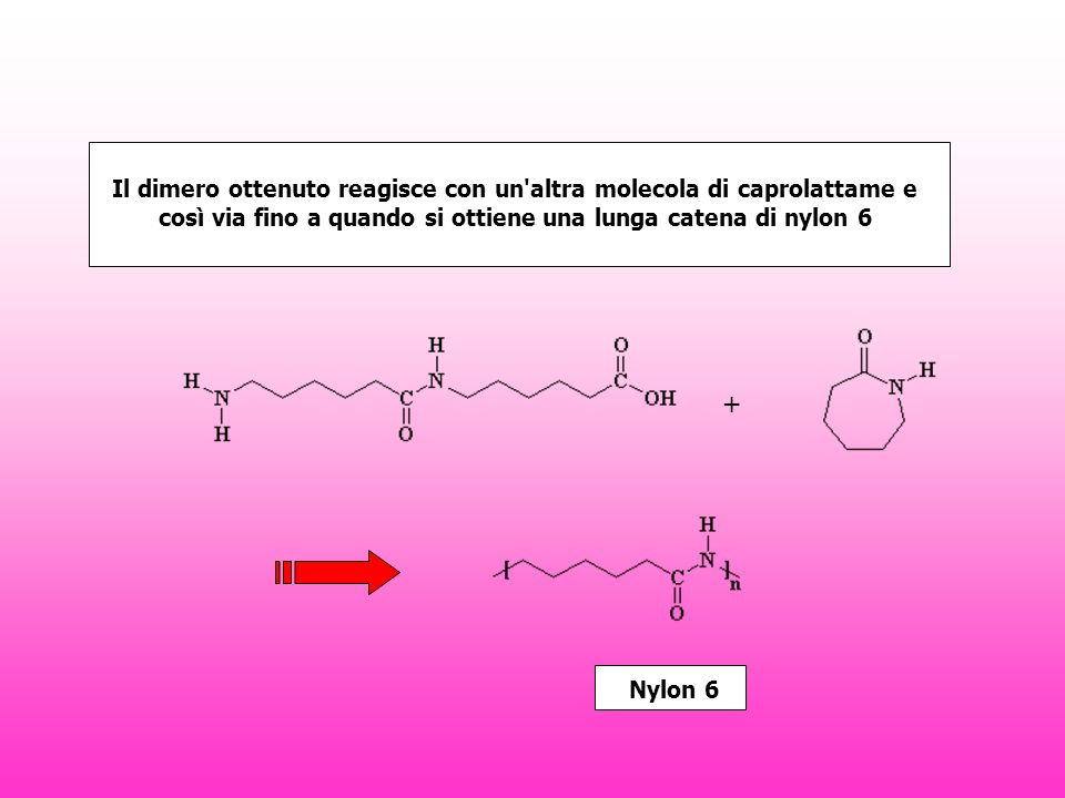 Il dimero ottenuto reagisce con un altra molecola di caprolattame e così via fino a quando si ottiene una lunga catena di nylon 6