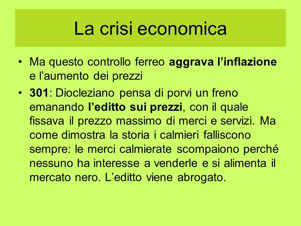 La crisi economica Ma questo controllo ferreo aggrava l'inflazione e l'aumento dei prezzi.