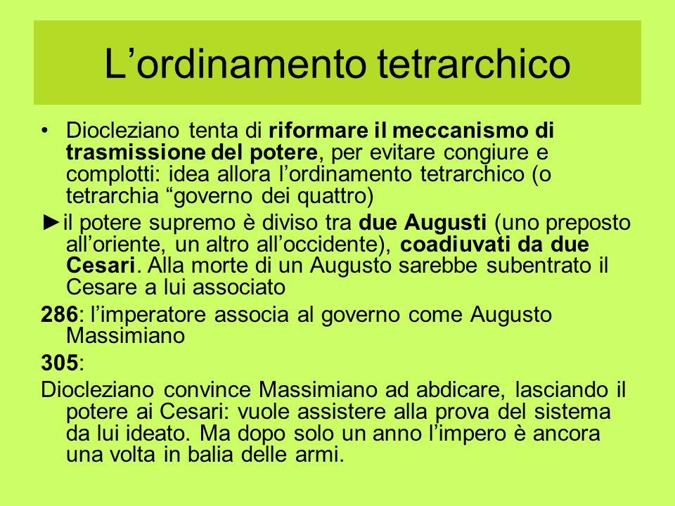 L'ordinamento tetrarchico