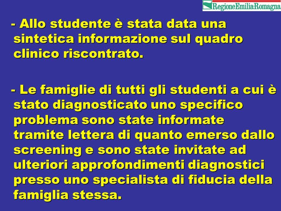 - Allo studente è stata data una sintetica informazione sul quadro clinico riscontrato.