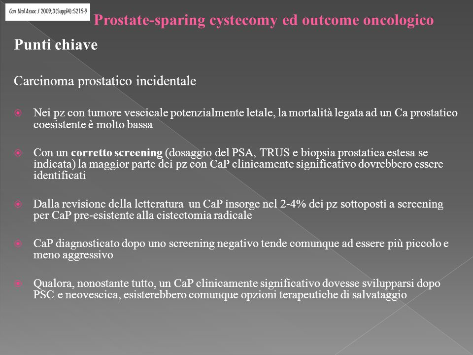 Prostate-sparing cystecomy ed outcome oncologico