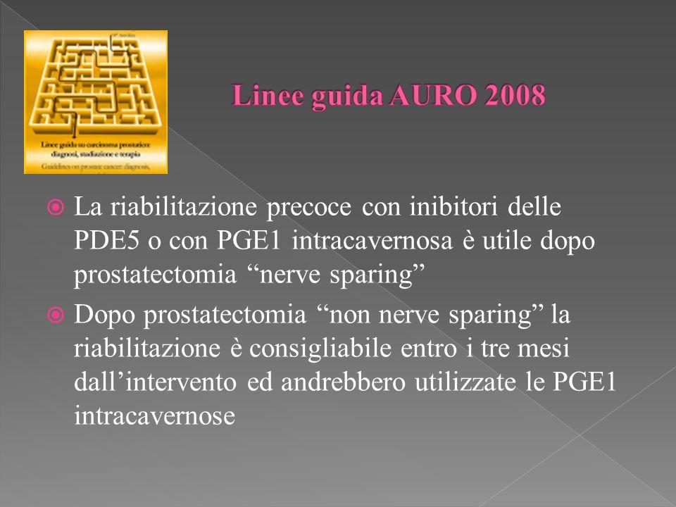 Linee guida AURO 2008 La riabilitazione precoce con inibitori delle PDE5 o con PGE1 intracavernosa è utile dopo prostatectomia nerve sparing