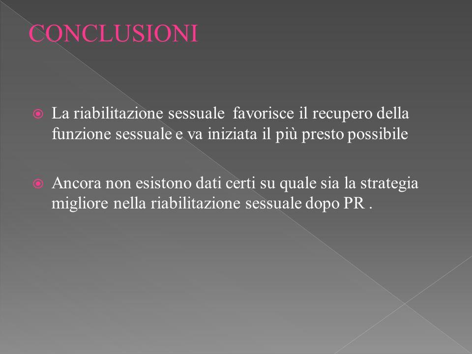 CONCLUSIONI La riabilitazione sessuale favorisce il recupero della funzione sessuale e va iniziata il più presto possibile.