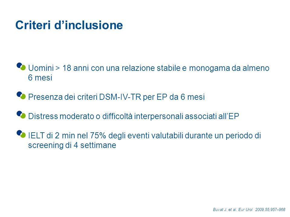 Criteri d'inclusione Uomini > 18 anni con una relazione stabile e monogama da almeno 6 mesi. Presenza dei criteri DSM-IV-TR per EP da 6 mesi.