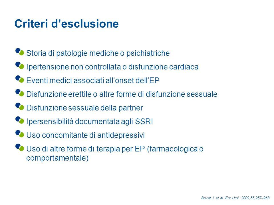 Criteri d'esclusione Storia di patologie mediche o psichiatriche