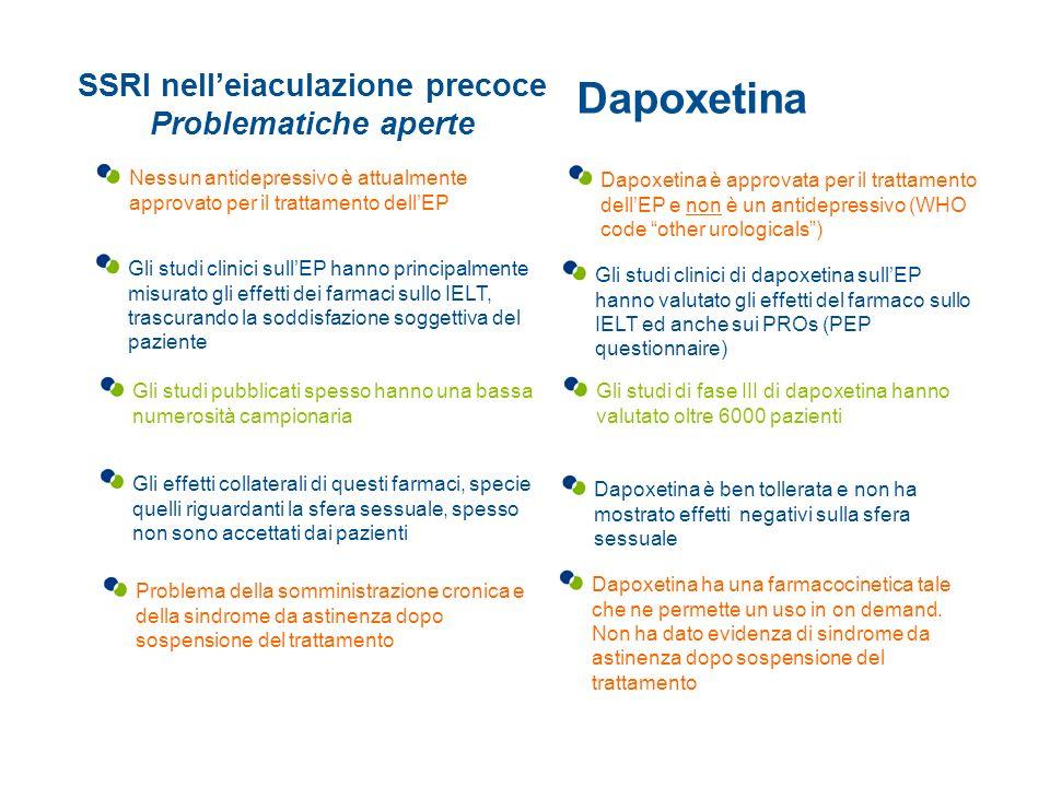 SSRI nell'eiaculazione precoce Problematiche aperte