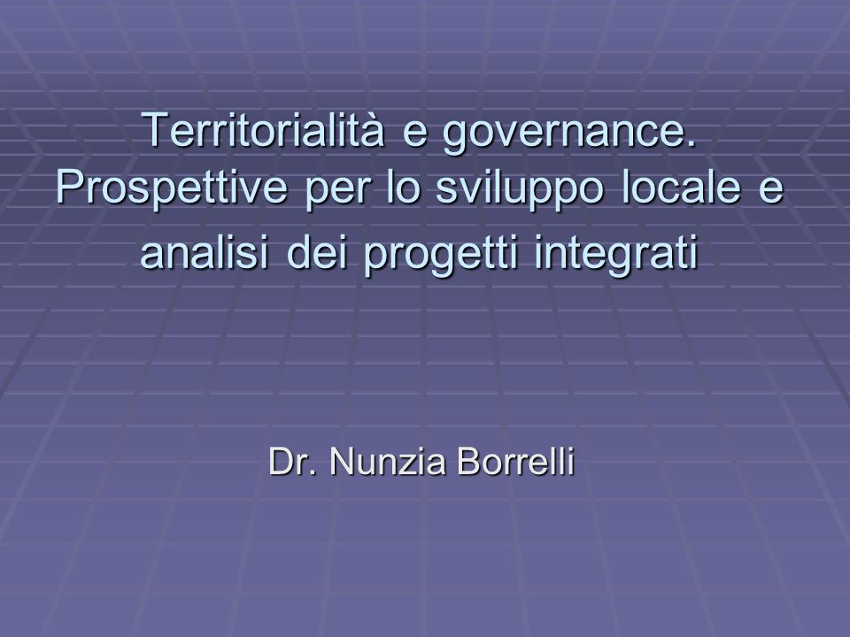 Territorialità e governance
