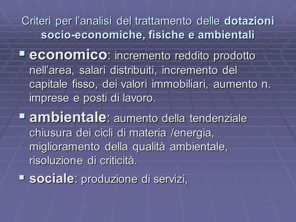 Criteri per l'analisi del trattamento delle dotazioni socio-economiche, fisiche e ambientali