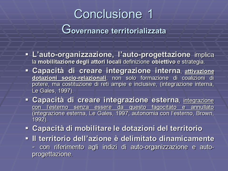 Conclusione 1 Governance territorializzata