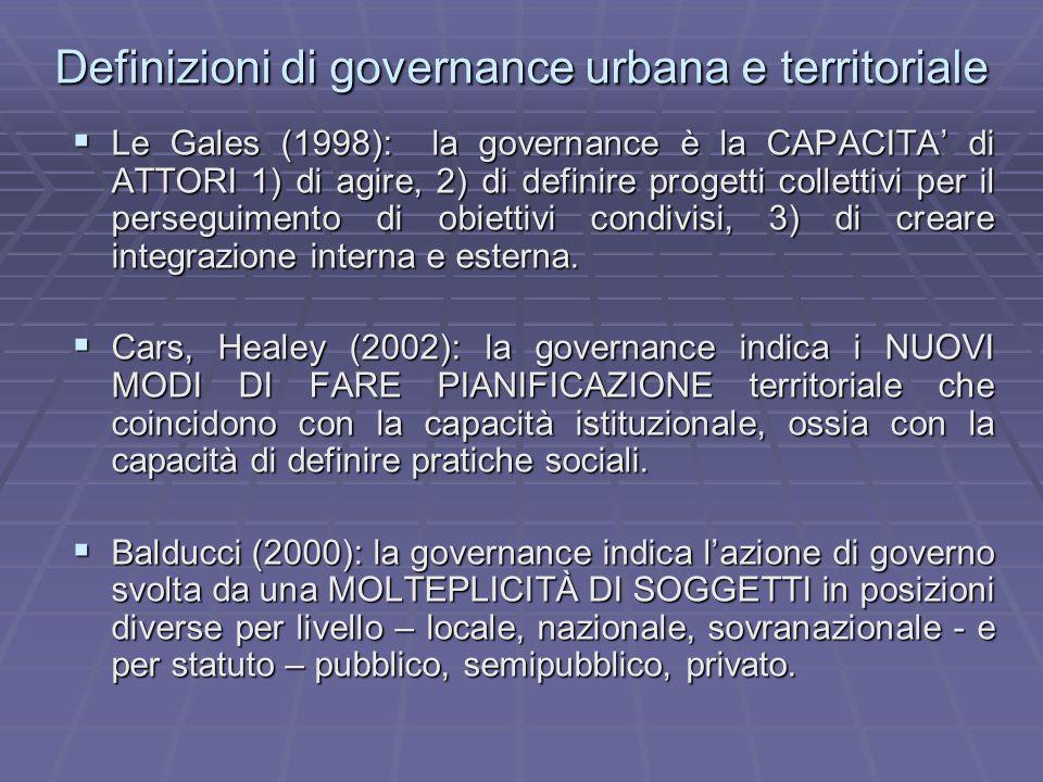 Definizioni di governance urbana e territoriale