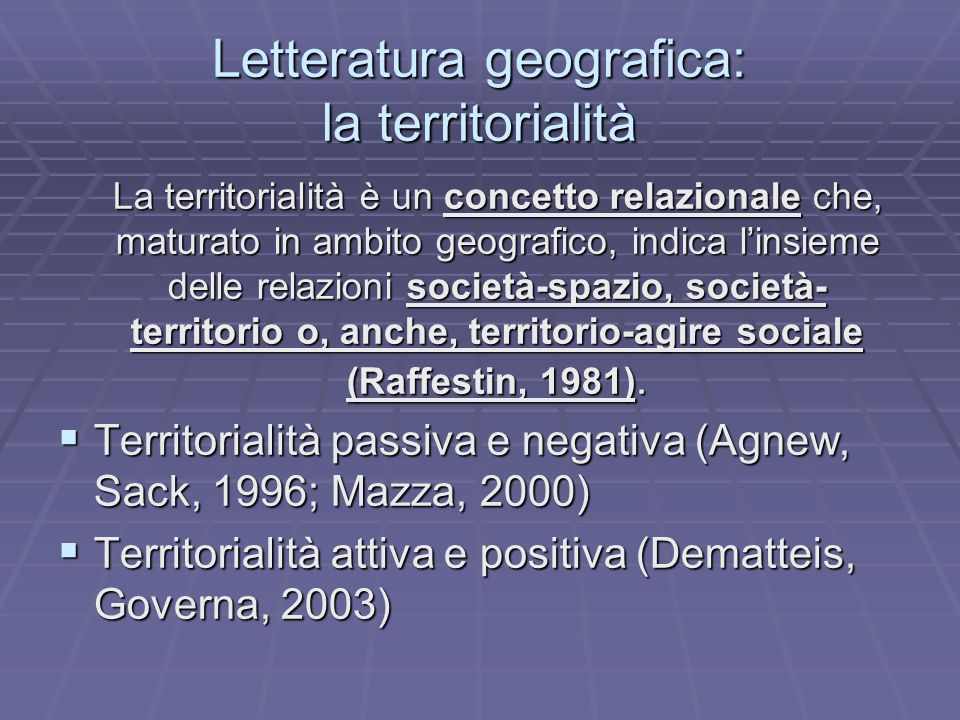 Letteratura geografica: la territorialità