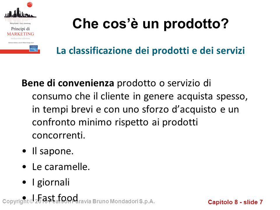 La classificazione dei prodotti e dei servizi