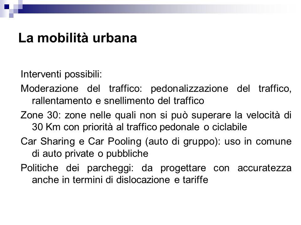 La mobilità urbana Interventi possibili: