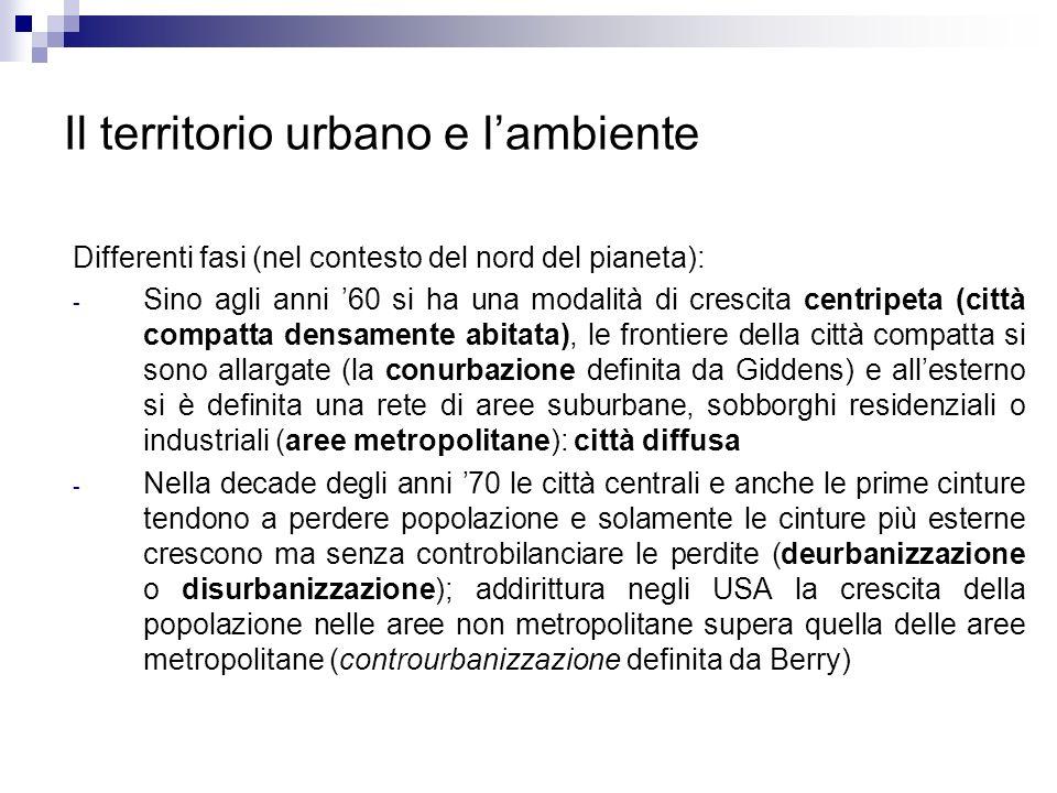 Il territorio urbano e l'ambiente