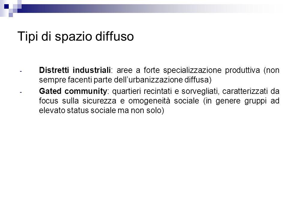 Tipi di spazio diffuso Distretti industriali: aree a forte specializzazione produttiva (non sempre facenti parte dell'urbanizzazione diffusa)