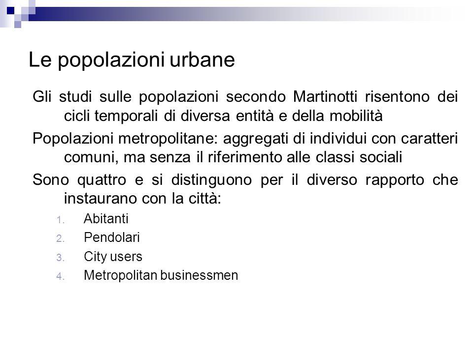 Le popolazioni urbane Gli studi sulle popolazioni secondo Martinotti risentono dei cicli temporali di diversa entità e della mobilità.