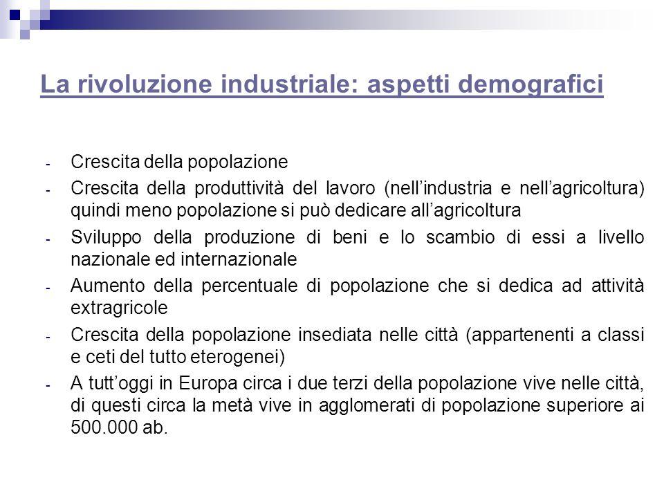 La rivoluzione industriale: aspetti demografici