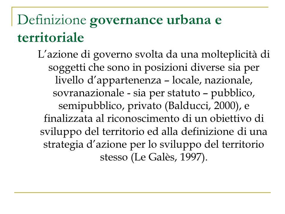 Definizione governance urbana e territoriale