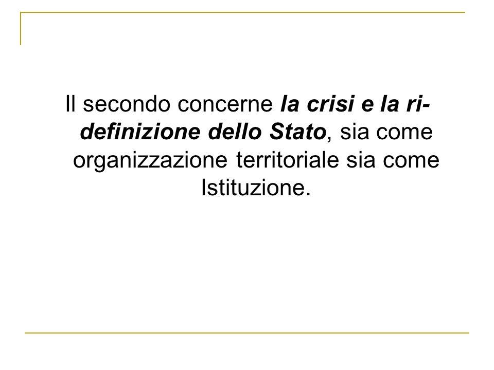 Il secondo concerne la crisi e la ri-definizione dello Stato, sia come organizzazione territoriale sia come Istituzione.