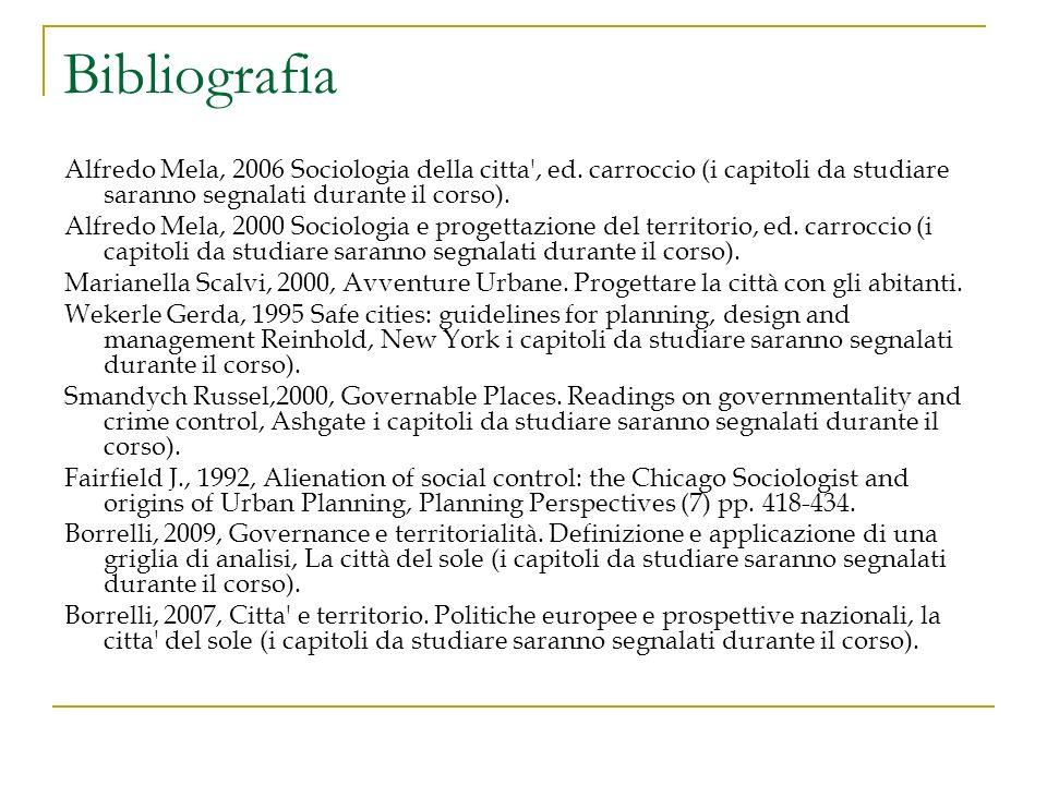 Bibliografia Alfredo Mela, 2006 Sociologia della citta , ed. carroccio (i capitoli da studiare saranno segnalati durante il corso).