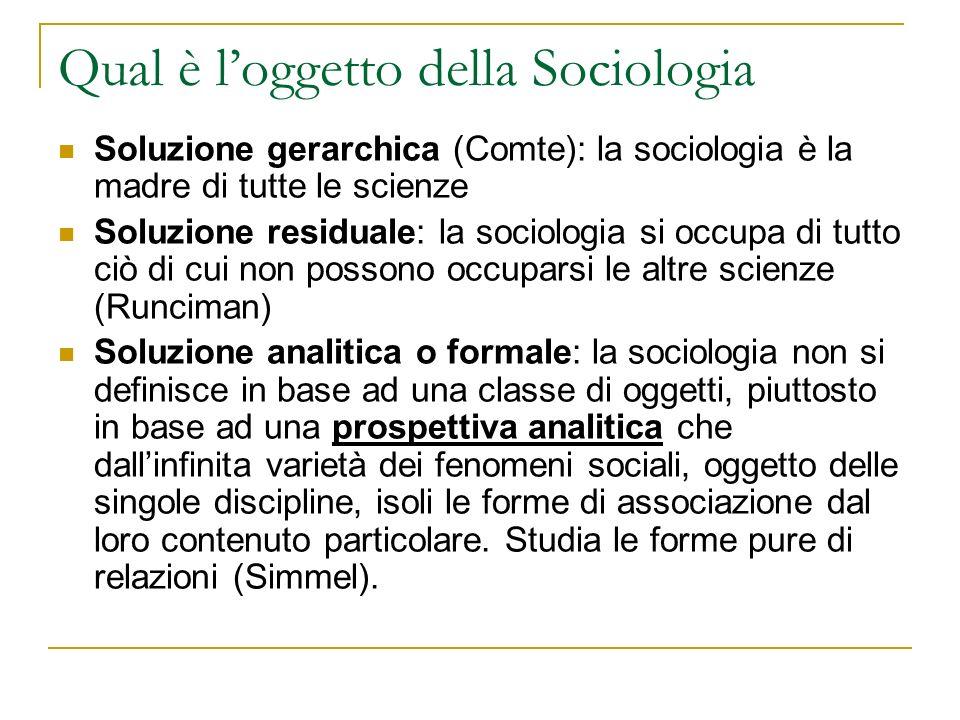 Qual è l'oggetto della Sociologia