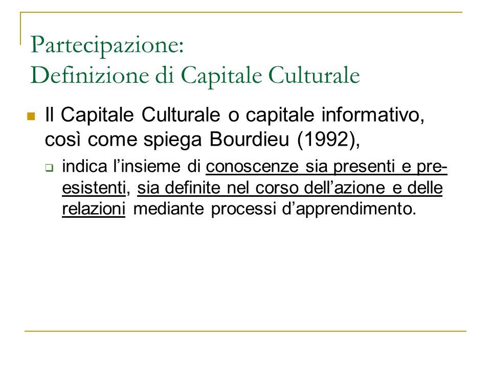 Partecipazione: Definizione di Capitale Culturale
