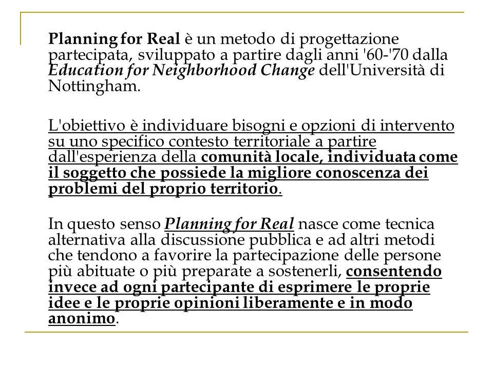 Planning for Real è un metodo di progettazione partecipata, sviluppato a partire dagli anni 60- 70 dalla Education for Neighborhood Change dell Università di Nottingham.