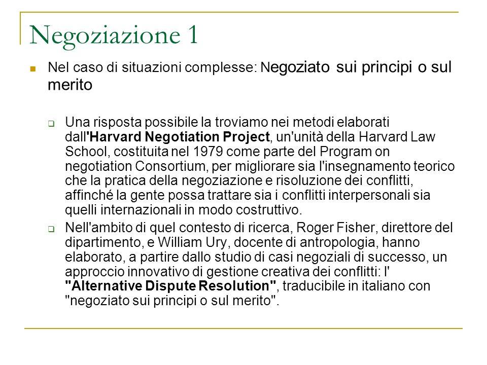 Negoziazione 1 Nel caso di situazioni complesse: Negoziato sui principi o sul merito.