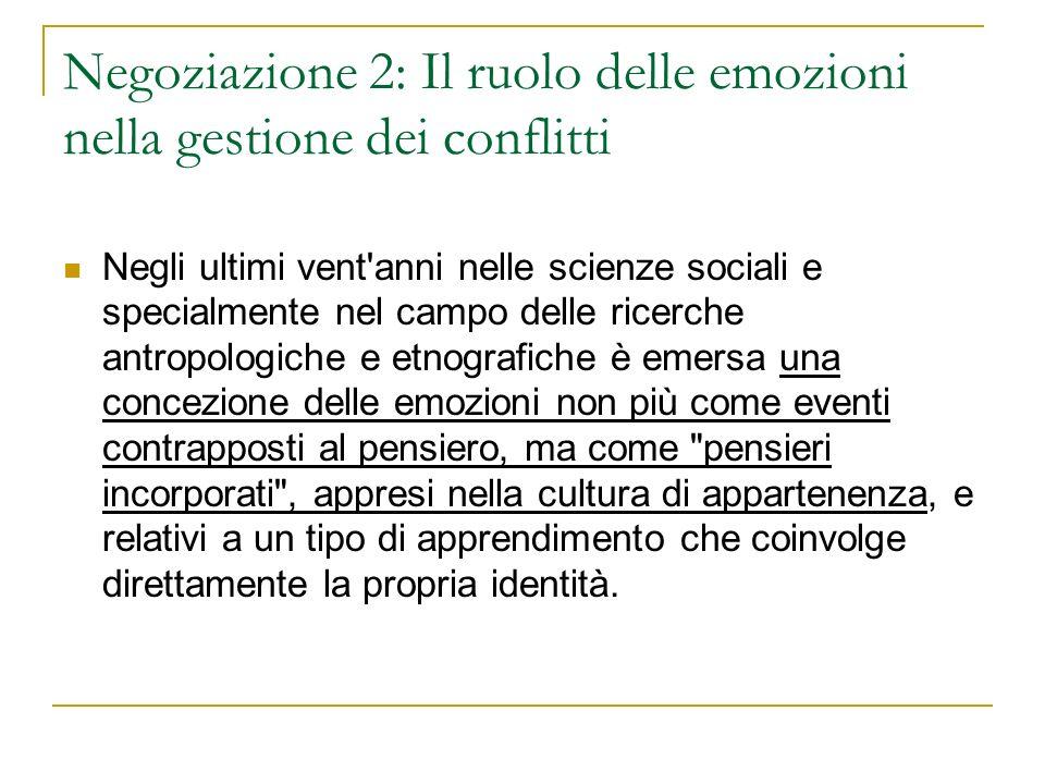 Negoziazione 2: Il ruolo delle emozioni nella gestione dei conflitti