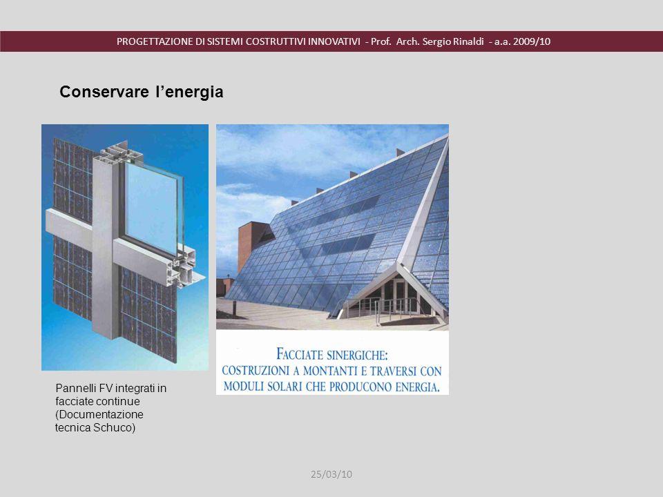 Conservare l'energia Pannelli FV integrati in facciate continue (Documentazione tecnica Schuco) 25/03/10.