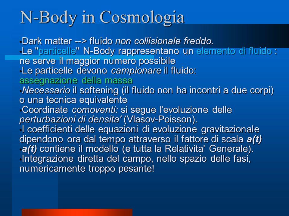 N-Body in Cosmologia Dark matter --> fluido non collisionale freddo.