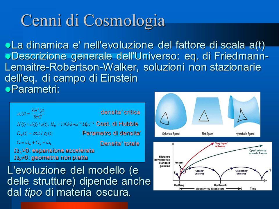 Cenni di Cosmologia La dinamica e nell evoluzione del fattore di scala a(t)