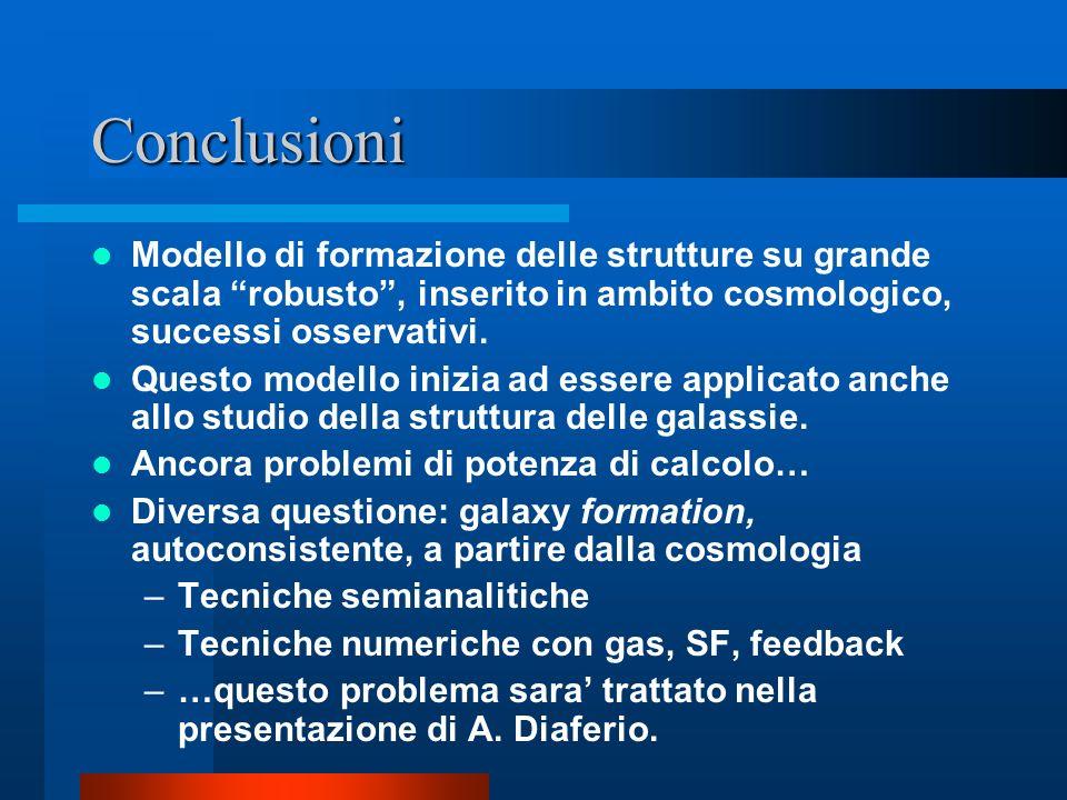 Conclusioni Modello di formazione delle strutture su grande scala robusto , inserito in ambito cosmologico, successi osservativi.