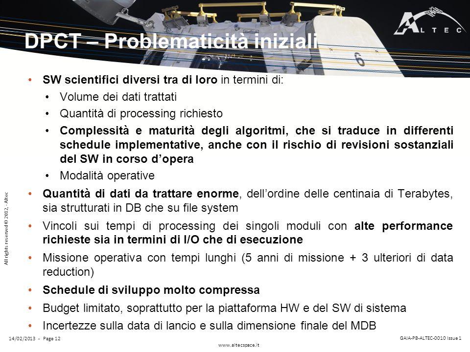 DPCT – Problematicità iniziali