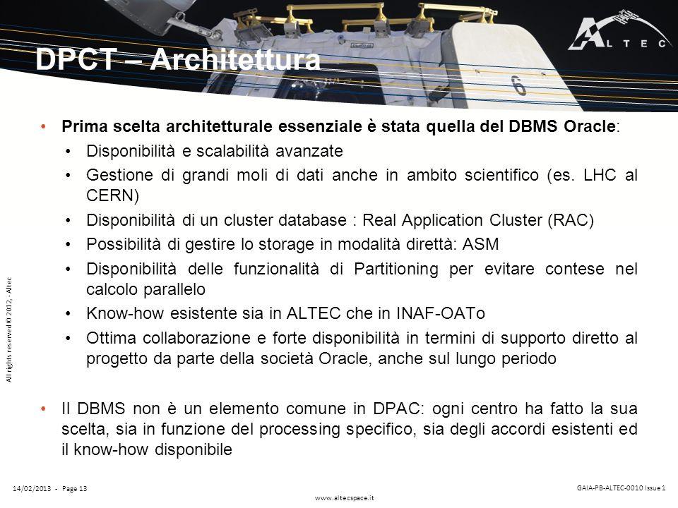 DPCT – Architettura Prima scelta architetturale essenziale è stata quella del DBMS Oracle: Disponibilità e scalabilità avanzate.