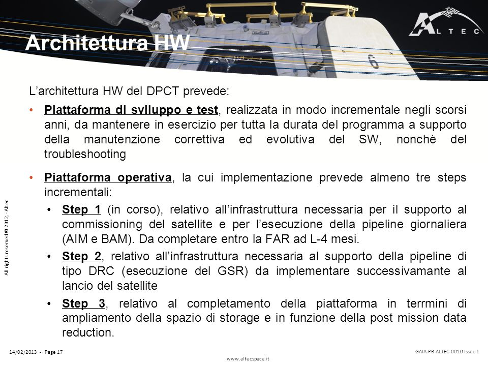 Architettura HW L'architettura HW del DPCT prevede: