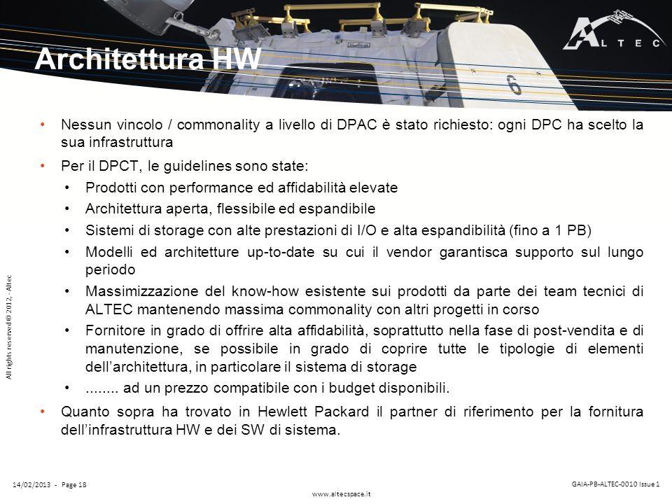 Architettura HW Nessun vincolo / commonality a livello di DPAC è stato richiesto: ogni DPC ha scelto la sua infrastruttura.