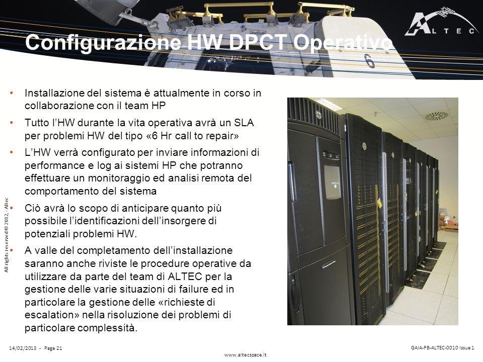 Configurazione HW DPCT Operativo