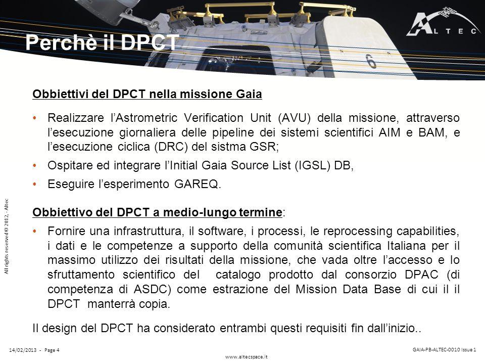 Perchè il DPCT Obbiettivi del DPCT nella missione Gaia